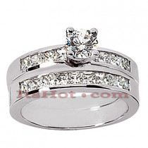 14K Gold Diamond Handmade Designer Engagement Ring Set 1.35ct