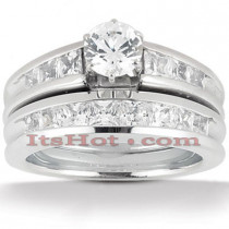 14K Gold Diamond Designer Engagement Ring Set 1.38ct