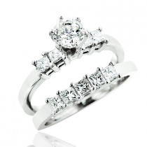 14K Gold Diamond Designer Engagement Ring Set 1.40ct