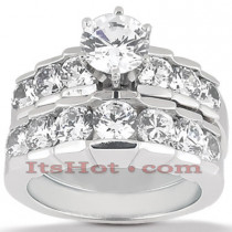 14K Gold Diamond Designer Engagement Ring Set 1.54ct