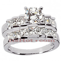 14K Gold Diamond Designer Engagement Ring Set 1.63ct