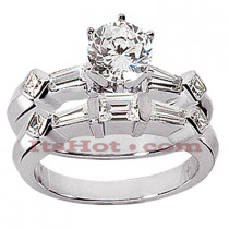 14K Gold Diamond Designer Engagement Ring Set 1.65ct
