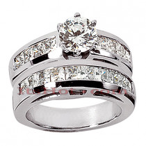 14K Gold Diamond Designer Engagement Ring Set 1.80ct