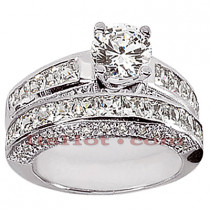 14K Gold Diamond Designer Engagement Ring Set 2.52ct