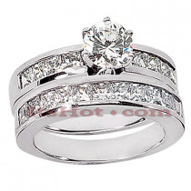 14K Handmade Gold Diamond Designer Engagement Ring Set 2.88ct