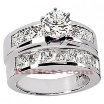 14K Gold Handmade Diamond Designer Engagement Ring Set 2.92ct