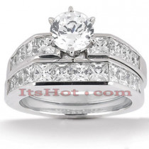 14K Gold Diamond Designer Engagement Ring Set 2.94ct