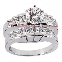 14K Gold Diamond Designer Engagement Ring Set 2ct