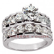 14K Gold Diamond Designer Engagement Ring Set 3.23ct