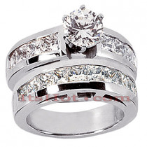 14K Gold Diamond Designer Engagement Ring Set 3.42ct