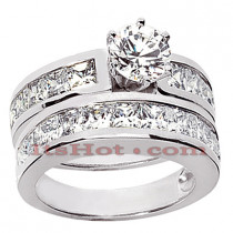 14K Gold Diamond Designer Engagement Ring Set 3.44ct