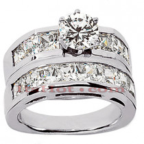 14K Gold Diamond Designer Engagement Ring Set 4.28ct