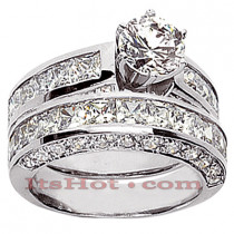 14K Gold Diamond Designer Engagement Ring Set 4.52ct