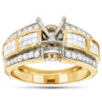 14K Gold Diamond Designer Engagement Ring Setting 1.01