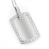 14K Gold Diamond Dog Tag Military Pendant 0.70ct