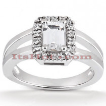 Halo 14K Gold Diamond Engagement Ring Mounting 0.14ct