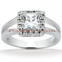 Halo 14K Gold Diamond Engagement Ring Mounting 0.16ct