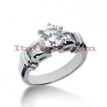 14K Gold Prong and Bar Diamond Engagement Ring Mounting 0.30ct