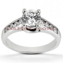 14K Gold Handcrafted Round Diamond Engagement Ring Mounting 0.30ct