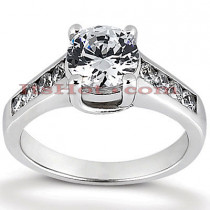 14K Gold Round Diamond Prong and Channel Set Engagement Ring Mounting 0.30ct