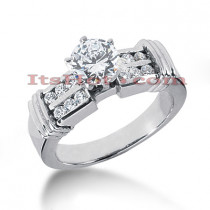 Designer Prong and Channel Set 14K Gold Diamond Engagement Ring Mounting 0.30ct