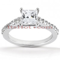 14K Gold Round and Princess Diamond Engagement Ring Mounting 0.30ct