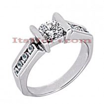 14K Gold Bar and Channel Set Diamond Engagement Ring Mounting 0.32ct