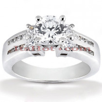 Prong and Channel Set 14K Gold Diamond Engagement Ring Mounting 0.32ct