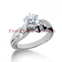 14K Gold Prong and Channel Set Diamond Engagement Ring Mounting 0.40ct