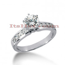 Channel and Prong Set 14K Gold Diamond Engagement Ring Mounting 0.40ct