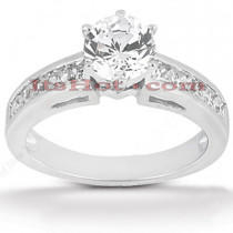 14K Gold Handcrafted Prong and Channel Set Round Diamond Engagement Ring Mounting 0.40ct