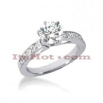 14K Gold Diamond Handcrafted Prong and Channel Set Engagement Ring Mounting 0.40ct