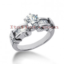 14K Gold Channel and Prong Set Diamond Engagement Ring Mounting 0.42ct