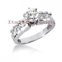 Prong and Channel Set 14K Gold Diamond Engagement Ring Mounting 0.42ct