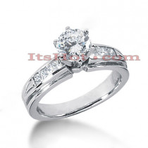 Channel and Prong Set 14K Gold Diamond Engagement Ring Mounting 0.42ct