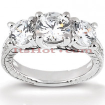 Thin 14K Gold Diamond Engagement Ring Mounting 0.45ct