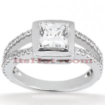 14K Gold Princess Cut Diamond Engagement Ring Mounting 0.48ct