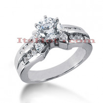 14K Gold Channel and Prong Set Diamond Engagement Ring Mounting 0.48ct