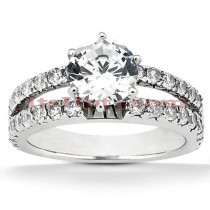 Prong and Channel Set 14K Gold Diamond Engagement Ring Mounting 0.48ct
