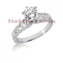Prong and Bar Set 14K Gold Diamond Engagement Ring Mounting 0.48ct