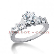 14K Gold Baguette and Round Diamond Engagement Ring Mounting 0.48ct