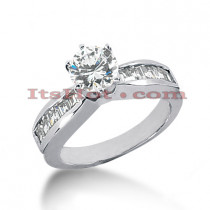 14K Gold Round and Baguette Diamond Engagement Ring Mounting 0.50ct