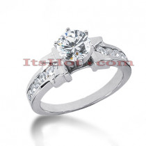 14K Gold Prong and Channel Set Diamond Engagement Ring Mounting 0.50ct