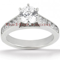 14K Gold Channel and Prong Set Diamond Engagement Ring Mounting 0.50ct