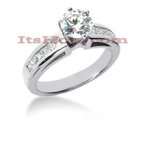 Prong and Channel Set 14K Gold Diamond Engagement Ring Mounting 0.50ct