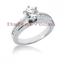 14K Gold Diamond Channel and Prong Set Engagement Ring Mounting 0.50ct
