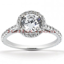 Halo 14K Gold Diamond Engagement Ring Mounting 0.52ct