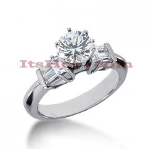 14K Gold Prong and Bar Set Diamond Engagement Ring Mounting 0.52ct