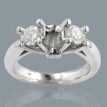 14K Gold Prong and Bezel Set Diamond Engagement Ring Mounting 0.54ct