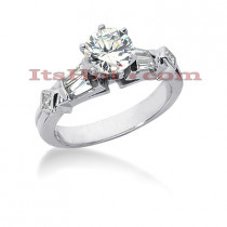 14K Gold Baguette and Round Diamond Engagement Ring Mounting 0.54ct